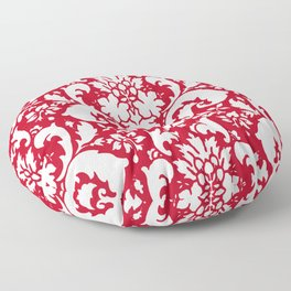 Paisley Damask Red and White Pattern Floor Pillow
