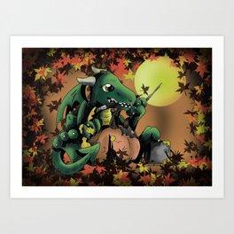 Fantasy Dragon Painting a Pumpkin Art Print
