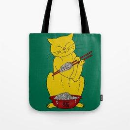 Cat eats mouse noodles  Tote Bag