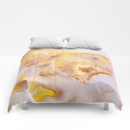Modern Blush and gold Agate Comforters