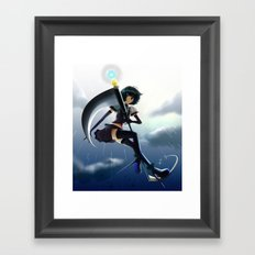 The girl of a scythe Framed Art Print