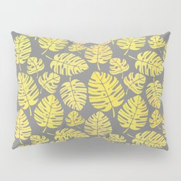 Leaves in Yellow and Grey Pattern Pillow Sham