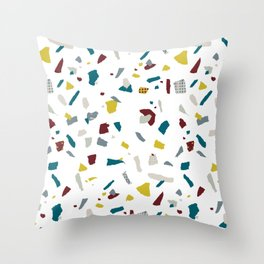 Abstract navy blue lime burgundy lime paper confetti Throw Pillow