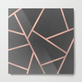 Dark Grey and Rose Gold Textured Fragments - Geometric Design Metal Print