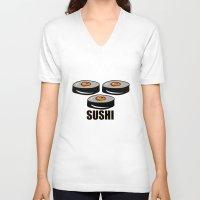 sushi V-neck T-shirts featuring Sushi by Sofia Youshi