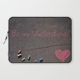 Be my Valentine! Pink Crayons on Street Laptop Sleeve