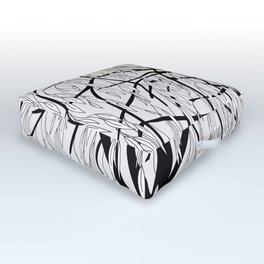 weeping willow on the gray background Outdoor Floor Cushion