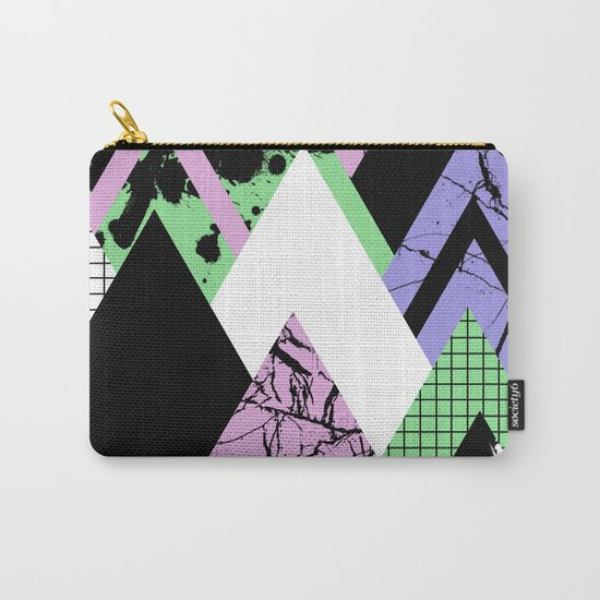 Textured Points - Marbled, pastel, black and white, paint splat textured geometric triangles Carry-All Pouch