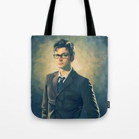 david tennant Tote Bags featuring David Tennant - Doctor Who 2 by KanaHyde