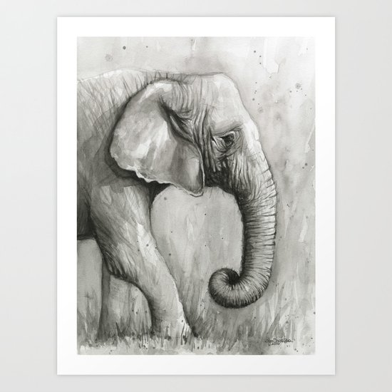 Elephant Black and White Watercolor Animals Art Print
