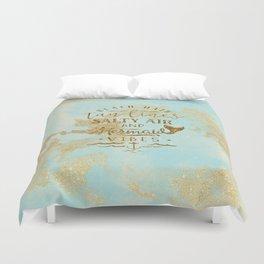 Beach-Mermaid-Mermaid Vibes - Gold glitter lettering on aqua glittering background Duvet Cover