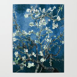 Van Gogh Almond Blossoms : Ocean Blue Poster