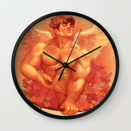Eros In Roses Wall Clock