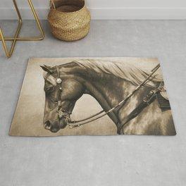 Western Quarter Horse Old Photo Effect Rug