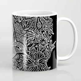 Hummingbird In Flowery Wreath Linocut Coffee Mug