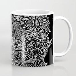 Hummingbird In Flowery Wreath Linocut Coffee Mug