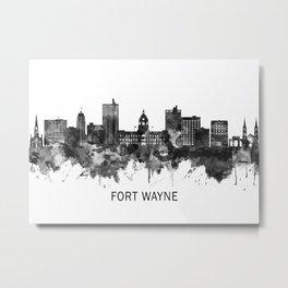 Fort Wayne Indiana Skyline BW Metal Print