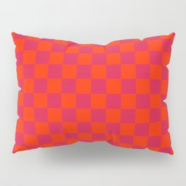 Scarlet Red and Crimson Red Checkerboard Pillow Sham