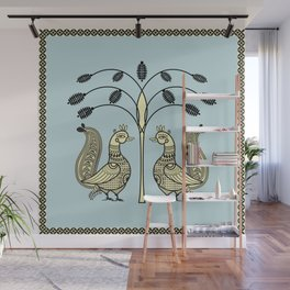 Ethic Art Indian Ducks with tree Wall Mural