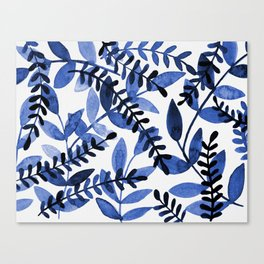 Watercolor branches - blue Canvas Print