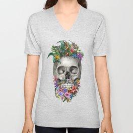 floral beard skull Unisex V-Neck