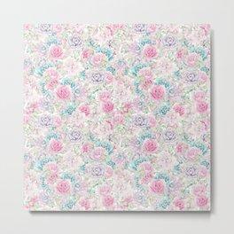 Modern aqua pastel pink lavender cactus floral Metal Print