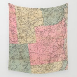 Vintage Map of The Adirondack Mountains (1883) Wall Tapestry