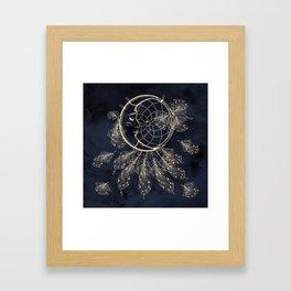 GOLDEN MOON IN DARK NIGHT Framed Art Print