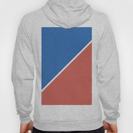 Fire Red & Mild Blue - oblique Hoody