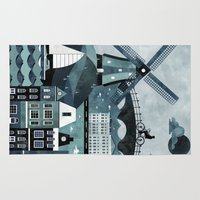 travel poster Area & Throw Rugs featuring Amsterdam Travel Poster by ClaireIllustrations