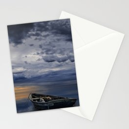 Morning Sunrise with Anchored Wooden Row Boat Stationery Cards