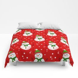 Snowman Pattern Red - Merry Christmas Comforters