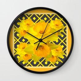 Golden Daffodils Grey Art Design Wall Clock