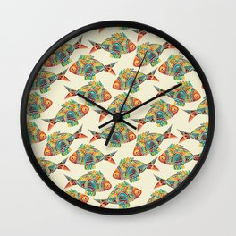 Abstract Geometric Fish Pattern Wall Clock