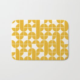 Mid Century Modern Geometric Pattern Yellow Bath Mat