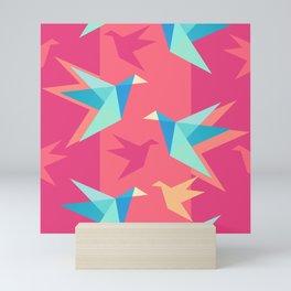 Vivid Pink Paper Cranes Mini Art Print