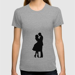 Couple Drawing Sketch Print One Line Art, Modern Minimalist Abstract Prints Continuous Line Art T-shirt