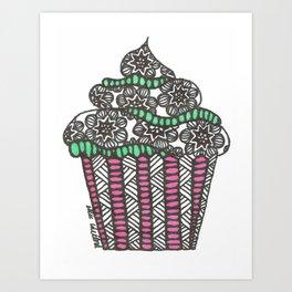 Zentangle Cupcake  Art Print