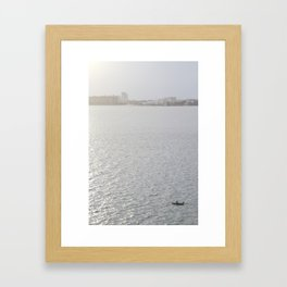Lonely Boat in Key Biscayne, Miami, With the City as Background Framed Art Print
