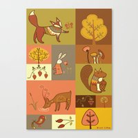 woodland Canvas Prints featuring Woodland by Nicola Colton illustration