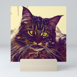 squinting maine coon cat vector art foggy night Mini Art Print