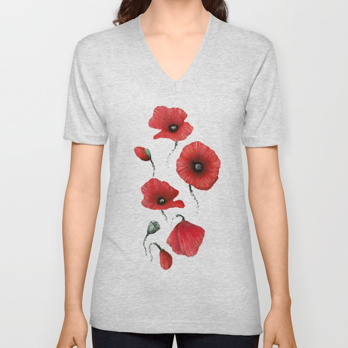 Poppies colored Unisex V-Neck