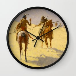 """Frederic Remington Western Art """"The Parley"""" Wall Clock"""