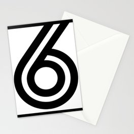 Number 6 - Digits - Geometric Lines - Black - 6 - six - with black border Stationery Cards