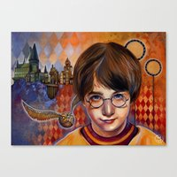 quidditch Canvas Prints featuring Harry's First Quidditch Match by S.G. DeCarlo