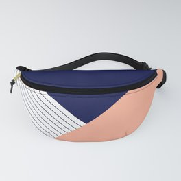 Navy Peach Triangles Fanny Pack
