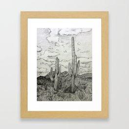 Saguaro Cactus Pencil Drawing Framed Art Print