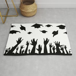 Students Throwing Caps Rug