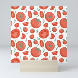 Tomatoes seamless pattern in cartoon style. Healthy organic cherries with rosemary and tomato slices. Mini Art Print