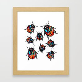 Blue Tingd Ladybugs Framed Art Print